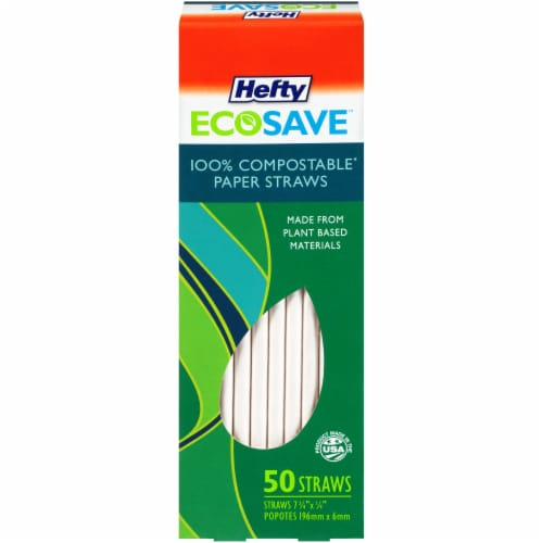 Hefty EcoSave™ Compostable Paper Straws - 7 1/4 in x 1/4 in Perspective: front