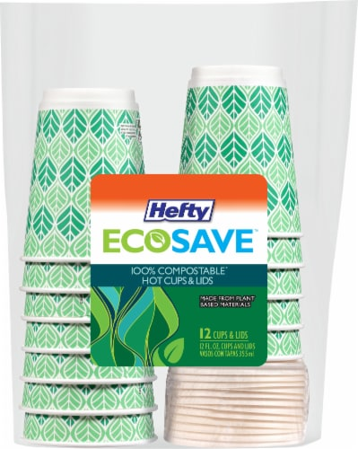 Hefty Ecosave Compostable  Hot Cups and Lids Perspective: front