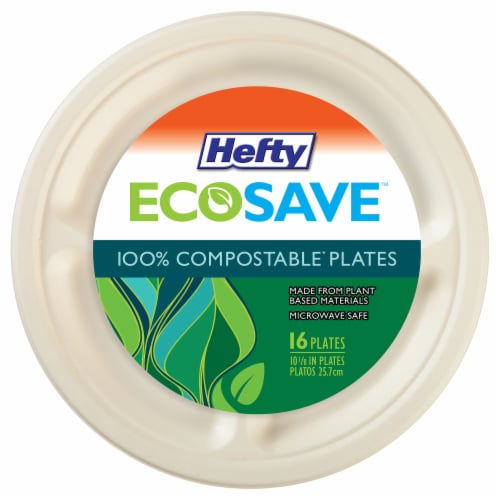 Hefty EcoSave 100% Compostable 10.13-Inch Paper Plates Perspective: front