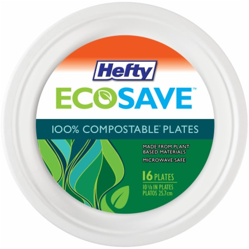 Hefty EcoSave 100% Compostable 10.125-Inch Paper Plates Perspective: front