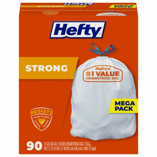 Hefty Strong Tall 13 Gallon Kitchen Drawstring Trash Bags Mega Pack Perspective: front