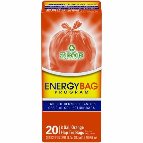 Hefty Energy Bag Program 8 Gallon Orange Flap Tie Bags Perspective: front