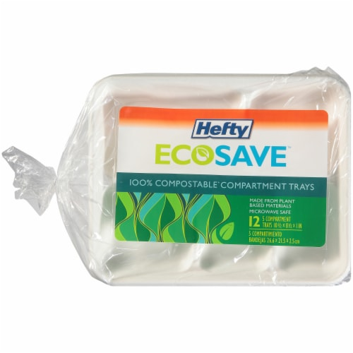 Hefty EcoSave Compostable Compartment Trays Perspective: front