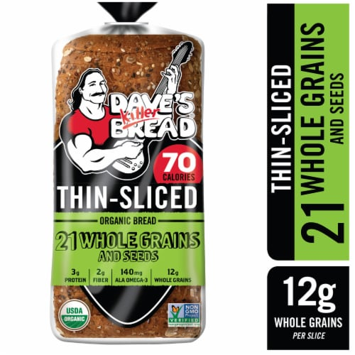 Dave's Killer Bread Organic Thin-Sliced 21 Whole Grains and Seeds Bread Perspective: front