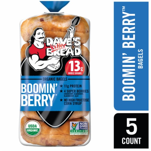 Dave's Killer Bread Organic Boomin' Berry Bagels Perspective: front