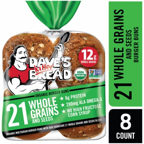 Dave's Killer Bread 21 Whole Grains and Seeds Organic Burger Buns 8 Count Perspective: front