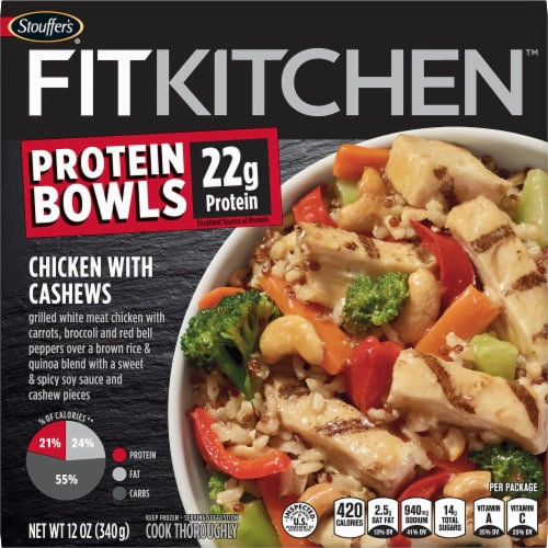 Stouffer's Fit Kitchen Chicken with Cashews Protein Bowl Frozen Meal Perspective: front
