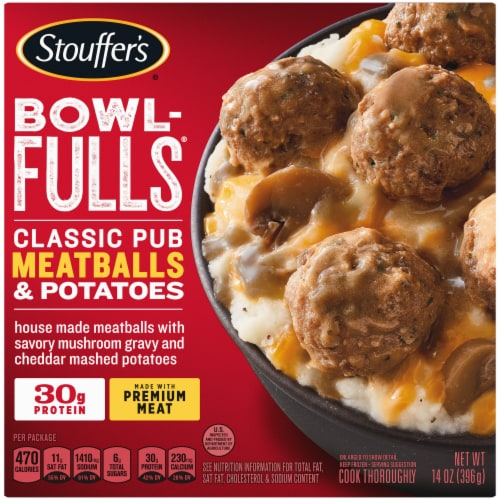 Stouffer's Bowl-Fulls Classic Pub Meatballs & Mashed Potatoes Bowl Frozen Meal Perspective: front