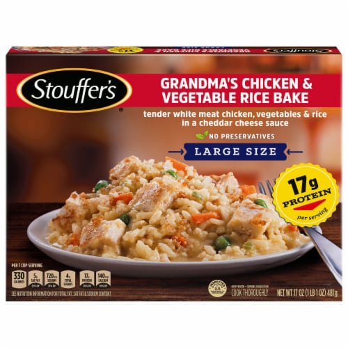 Stouffer's Large Size Grandma's Chicken & Vegetable Rice Bake Frozen Meal Perspective: front