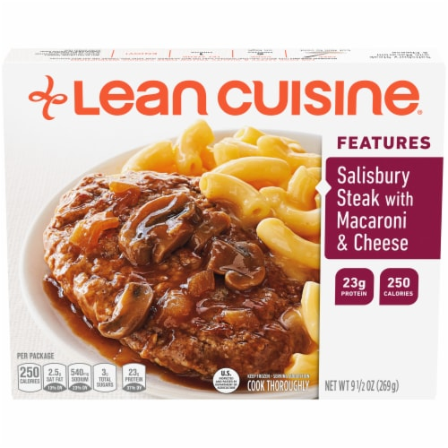 Lean Cuisine Features Salisbury Steak with Macaroni & Cheese Frozen Meal Perspective: front