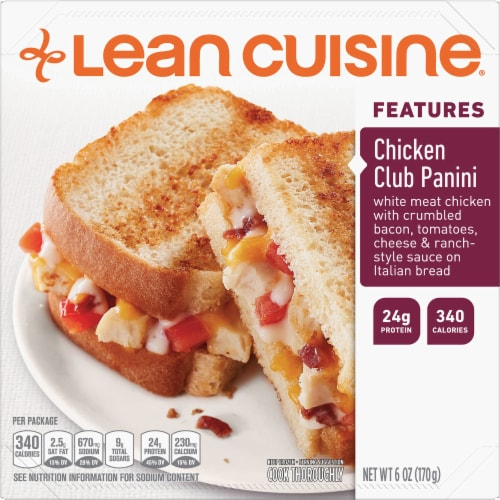 Lean Cuisine Features Chicken Club Panini Frozen Meal Perspective: front
