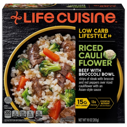 Life Cuisine™ Low Carb Riced Califlower Beef with Broccoli Bowl Perspective: front