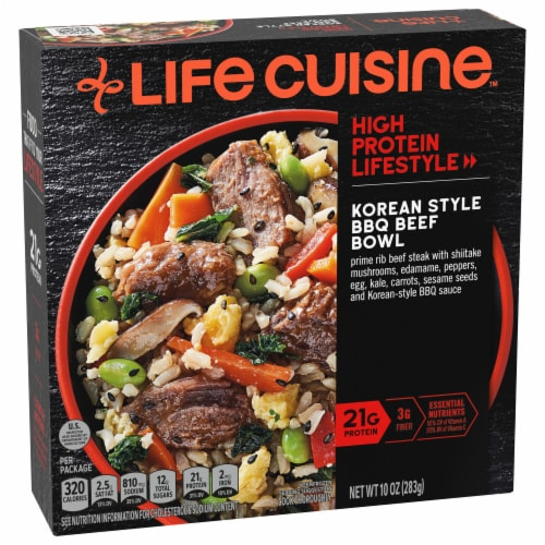Life Cuisine Korean Style BBQ Beef Bowl Frozen Meal Perspective: front