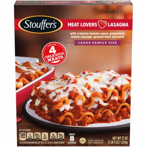 Stouffer's Meat Lovers Lasagna Family Size Frozen Meal Perspective: front