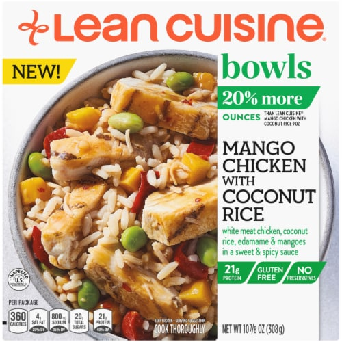 Lean Cuisine High Protein Mango Chicken with Coconut Rice Frozen Meal Perspective: front