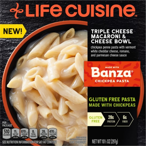Life Cuisine Triple Cheese Macaroni & Cheese Bowl Frozen Meal Perspective: front