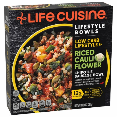 Life Cuisine Riced Cauliflower Chipotle Sausage Bowl Frozen Meal Perspective: front