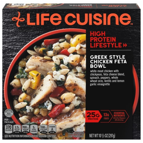 Life Cuisine Greek Style Chicken Bowl Frozen Meal Perspective: front