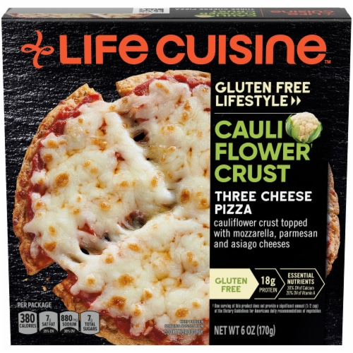 Life Cuisine Gluten Free Lifestyle Cauliflower Crust Three Cheese Pizza Frozen Meal Perspective: front