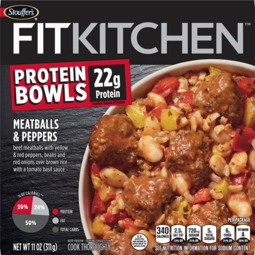 Stouffer's Fit Kitchen Meatballs & Peppers Protein Bowl Frozen Meal Perspective: front