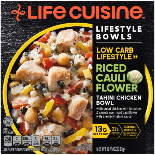 Life Cuisine Lifestyle Creamy Riced Cauliflower Tahini Chicken Bowl Frozen Meal Perspective: front