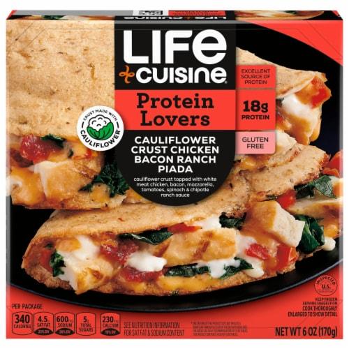 Life Cuisine Cauliflower Crust Chicken Bacon Ranch Piada Frozen Meal Perspective: front