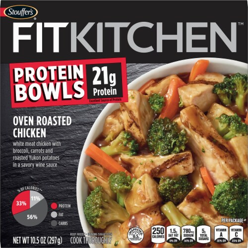 Stouffer's Fit Kitchen Bowls Oven Roasted Chicken Protein Bowl Frozen Meal Perspective: front