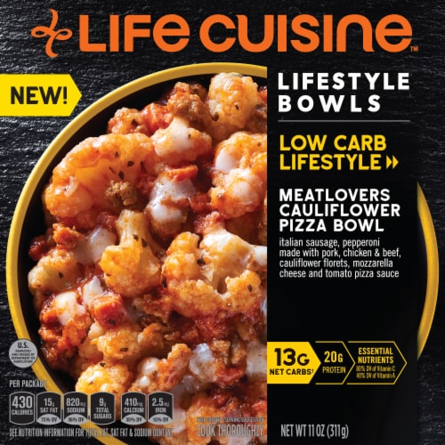 Life Cuisine Meatlovers Cauliflower Pizza Bowl Frozen Meal Perspective: front