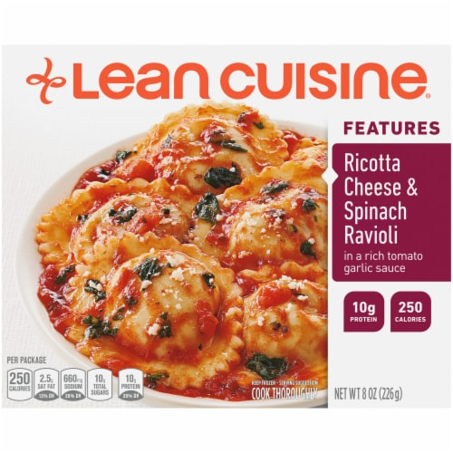 Lean Cuisine Features Ricotta Cheese & Spinach Ravioli Frozen Meal Perspective: front