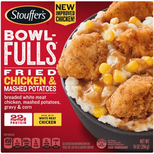 Stouffer's Bowl-Fulls Fried Chicken & Mashed Potatoes Frozen Meal Perspective: front