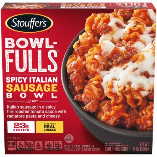 Stouffer's Bowl-Fulls Spicy Italian Sausage Bowl Frozen Meal Perspective: front
