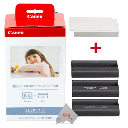 Canon Selphy KP-108IN Color Ink Paper Set 108 4x6 Photo Sheets 3 Toners 3115B001 Perspective: front