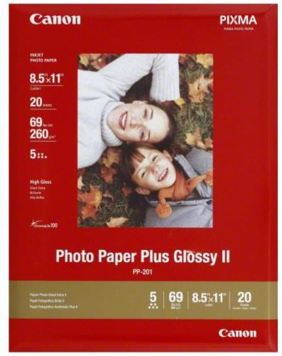 Canon Pixma Photo Paper Plus Glossy II Inkjet Paper - 20 Sheets - White Perspective: front
