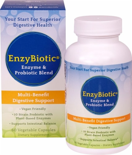 Aerobic Life EnzyBiotic Enzyme & Probiotic Blend Dietary Supplement Vegetable Capsules Perspective: front