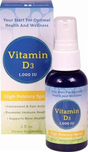Aerobic Life Vitamin D3 High Potency Spray Perspective: front