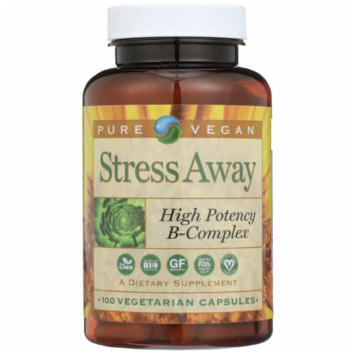 Pure Vegan Stress Away High Potency B-Complex Vegetarian Capsules Perspective: front