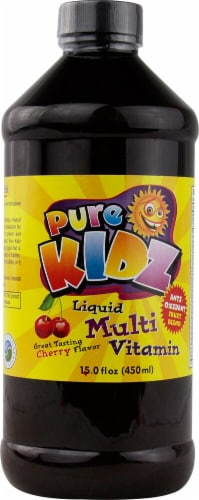 Pure Kidz Cherry Flavor Liquid Multi Vitamin Perspective: front