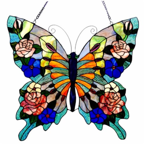 CH1P545BA24-GPN CHLOE Lighting Tiffany-glass Butterfly Window Panel 22.5x24 Perspective: front