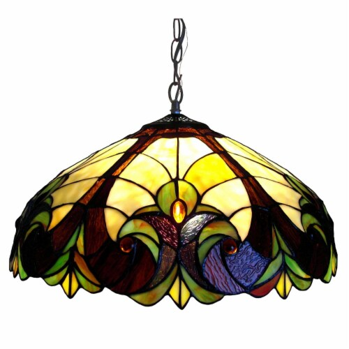CH18780VI18-DH2 CHLOE Lighting LIAISON Tiffany-style 2 Light Victorian Ceiling Pendent Perspective: front