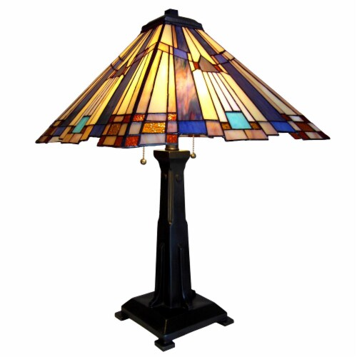 CH13004AM15-TL2 CHLOE Lighting FLARE Tiffany-style 2 Light Mission Table Lamp 15  Shade Perspective: front