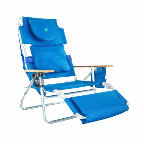 Ostrich Deluxe Padded 3-N-1 Outdoor Lounge Reclining Beach Chair, Blue Perspective: front