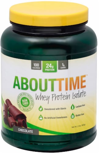 AboutTime Chocolate Whey Protein Isolate Perspective: front
