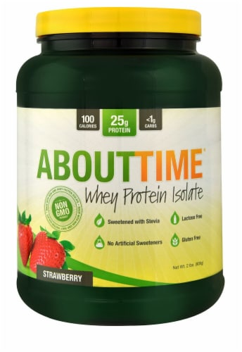 AboutTime Strawberry Whey Protein Isolate Perspective: front