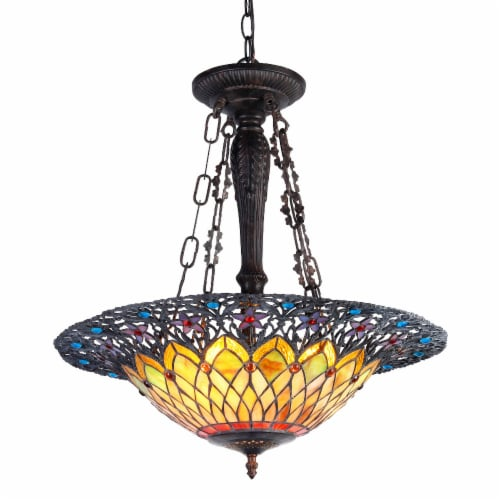 CHLOE Lighting CAMILA Tiffany-style 3 Light Inverted Ceiling Pendant 22  Shade Perspective: front