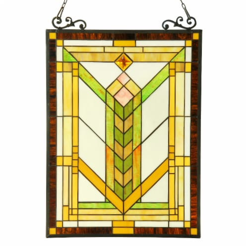 CH3P658GM24-GPN CHLOE Lighting BARLEY Tiffany-glass Mission Window Panel 18x24 Perspective: front