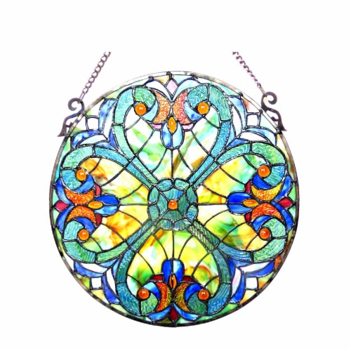 CH1P780VT20-GPN CHLOE Lighting LIAISON Tiffany-glass Victorian Window Panel 20 Perspective: front
