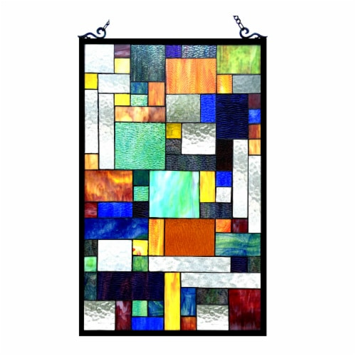 CH1P811OM32-GPN CHLOE Lighting AVANT-GARDE Tiffany-glass Rectangle Window Panel 20x32 Perspective: front
