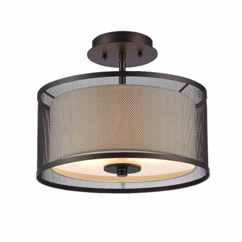 AUDREY Transitional 2 Light Rubbed Bronze Semi-flush Ceiling Fixture 13  Wide Perspective: front