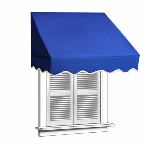 Aleko WAW6X2BLUE30-UNB 6 x 2 ft. Window Door Canopy Decorator Awning, Blue Perspective: front