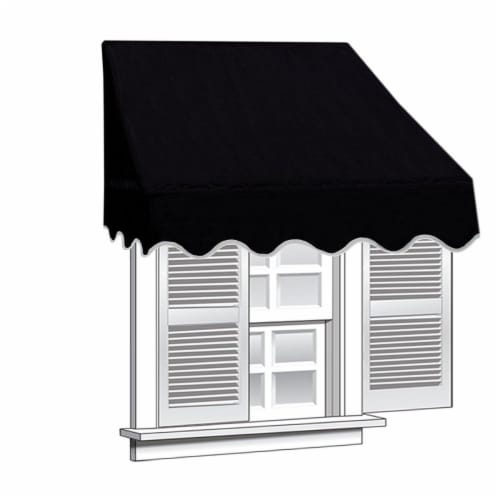 Aleko WAW6X2BLACK81-UNB 6 x 2 ft. Window Door Canopy Decorator Awning, Black Perspective: front